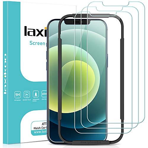 laxikoo 3 Piezas Cristal Templado Compatible con iPhone 12 Mini, 5,4 Pulgada, Protector Pantalla [Marco Instalación Fácil] Dureza 9H Anti-arañazos HD Vidrio Templado Compatible con iPhone 12 Mini