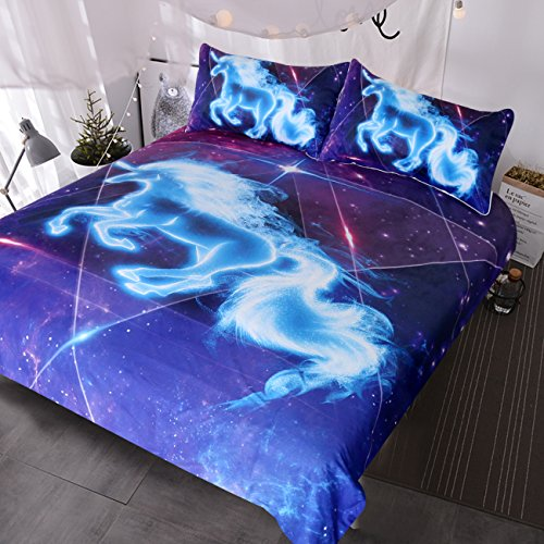 Blessliving Galaxy Blue Unicorn Bedding Boys Girls Sparkling Star Duvet Cover 3 Piece Unicorn of The Universe Kids Teens Bed Spread (Queen)