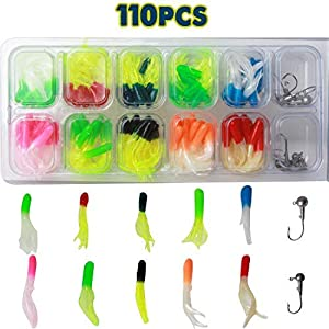AGOOL Fishing Lures Baits Tackle Kit - 110pcs Bass Trout Panfish Tube with Jig Head Hooks Artificial Worms Soft Plastic Bait Set Soft Lures for Freshwater Saltwater with Tackle Box