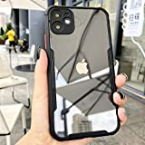 AE Mobile Accessories Back Cover for iPhone 11 Pro Max Luxury Shockproof Frame Full Clear Protective Transparent Cover Silicon Airbag Back case (Black)