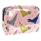 Estuche de Maquillaje Bolsas de Aseo Organizador de cosméticos Estuche con Cremallera para Mujeres Patrón sin Costuras con Dinosaurios Origami