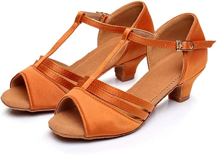 XIE66 Semelle intermédiaire Entre Filles européennes et américaines de 4 cm avec des Chaussures de Danse Latine à Fond Mou (Couleur   Dark Skin, Taille   34)
