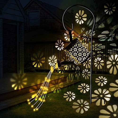 Wenosda Solar Giesskanne Garten LED Lichter Outdoor Dekoration, Star Shower Gießkanne Solar Lampe mit Wasserfall, IPX4 Wasserdichte Watering Can für Gehweg Hof Terrasse Rasen (mit Halterung)
