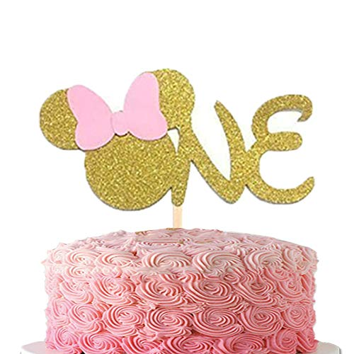 First 1st One Year Cake topper ONE Pink Gold Glitter Cake Decoration
