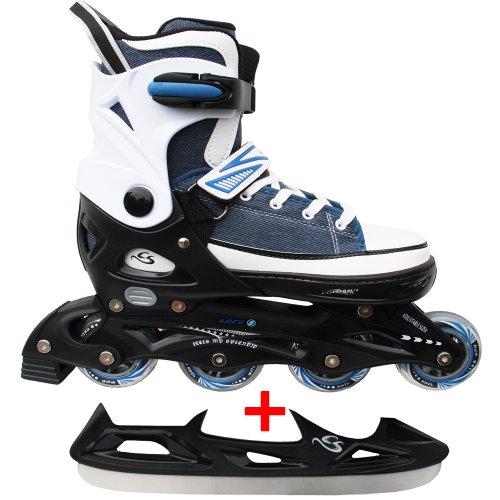 Cox Swain Sneak Kinder Inline Skates & Kinder Schlittschuh 2 in 1 - größenverstellbar ABEC5, Blau, L (40-43)
