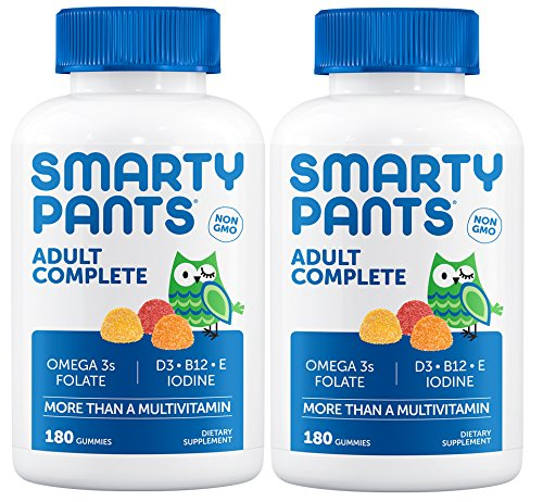 Smartypants All-in-One Adult Complete Multivitamin (Pack of 2) with Iodine for Thyroid Health, 180 Gummies per Bottle