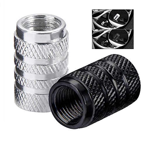 iwobi 16 Stück Aluminium Auto Ventilkappen, Autoventil Schraderventil Metall Kappen (Schwarz und Silber)