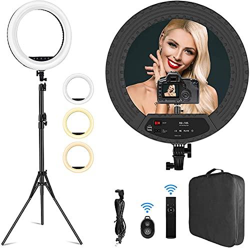 Ringlicht mit Stativ, 18 Zoll LED Ringleuchte mit 1 Kamerahalter und 2 Handyhalter, dimmbare Ringlicht 3000-6000K mit Fernbedienung, Bluetooth-Empfänger...
