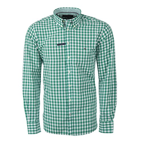 Tommy Hilfiger Custom-Fit Camicie (XXL, Verde)