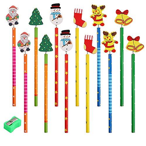 Lápiz navideño,12 piezas Lápices de madera coloridos con gomas de borrar Sacapuntas, Novedad Navidad Papá Noel Árbol de Navidad Muñeco de nieve Muchos dibujos animados para Niños de Navidad