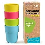 GET FRESH Bambus Kindertassen, 4er-Set Kinder Bambus Trinkbecher, Bambus Kinder Geschirr Set, Bambus Kleinkind Becher ohne Deckel, Kinder Bambustassen für den täglichen Gebrauch