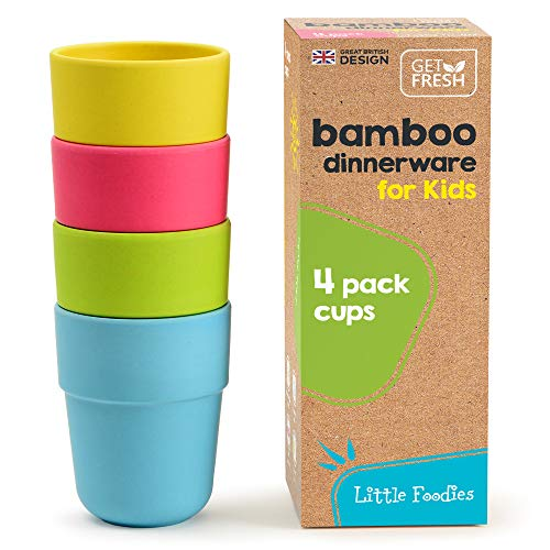 GET FRESH Bamboo Kids Cups, Set of 4 Kids Cups, Bamboo Drinking Cups, Bamboo Kids Dinnerware Set, Bamboo Toddler Cups Without lids, Kids Bamboo Cups for Everyday Use