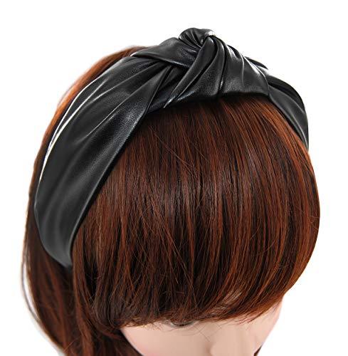 axy Leder Haarreif Lederlook Haarreifen Damen Haarband Vintage Hairband Stirnband Klassische und modische Leather HR27AL (Schwarz)