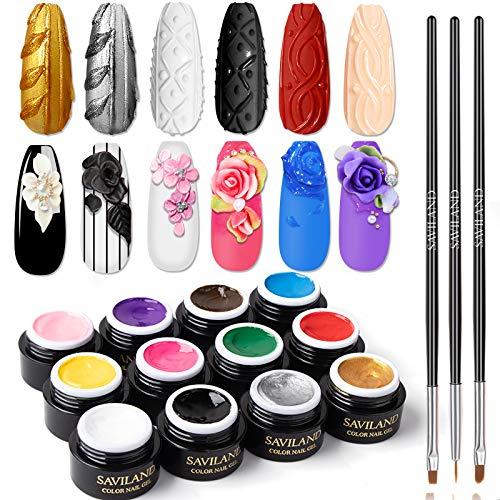 Esmalte de Uñas de Arte 12 Colores Gel con 3 Bolígrafos de Pincel, Saviland Esmaltes Polish Semipermanentes Kit Primer De Diseño Pintura con Gel en Relieve 3D, Juego de Gel Tallado