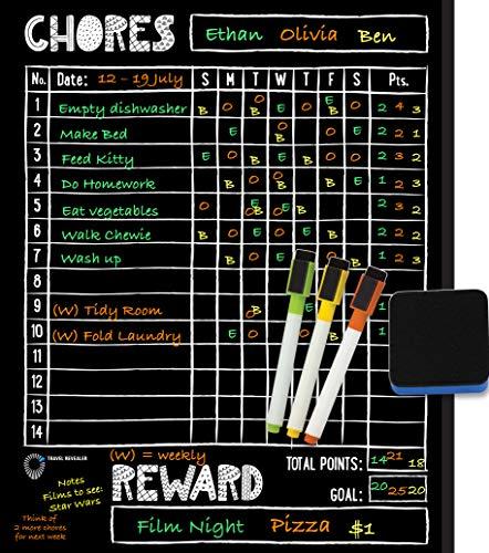"Magnetic Chalkboard Chore Chart for Kids Multiple Kids by Travel Revealer. Reward Chart for Kids at Home Magnetic 11x14"" Dry Erase Chalkboard Magnetic Chore Chart + Liquid Chalk Markers, Eraser."