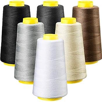 6 Rolls 3000 Yard  Each  Sewing Thread Serger Sewing Machine Thread Polyester Thread Spools Overlock Cone Thread for All Purpose Sewing Quilting Machine  Black White Beige Grey Dark Grey Coffee