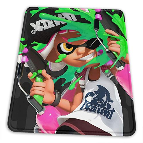 Splatoon Mouse Pad Non-Slip Rubber Base for Office Gaming Computer with Stitched Edge 10x12 in