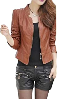 Winwinus Womens Fall Winter Stand Up Collar Solid Colored Plus-Size Skinny Faux Leather Coat