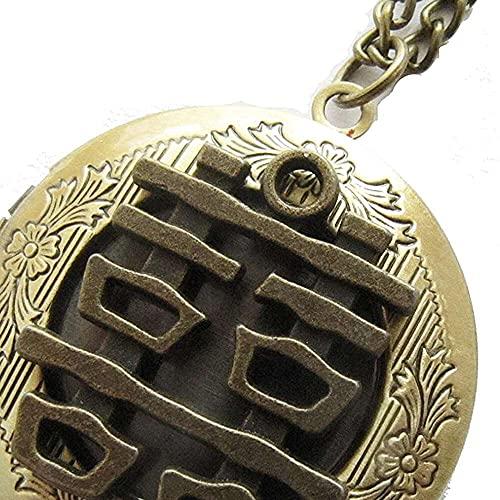 chaosong shop Medallón doble de la felicidad con el encanto chino del personaje de Gunmetal, suerte, felicidad, año nuevo chino