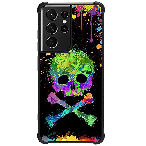 Tnarru Compatible with Samsung Galaxy S21 Ultra Case Graffiti Skull Pattern Hard PC Back and Soft TPU Sides Scratchproof Shockproof Protective Case for Samsung Galaxy S21 Ultra 5G -Black