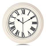 Lafocuse Orologio da Parete Beige Tradizionale Numeri Romani Orologio al Quarzo Classico Silenzioso per Soggiorno Cucina Camera da Letto 30cm