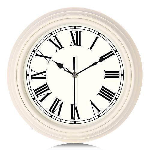 Lafocuse Klassisch Elfenbein-Weiß Wanduhr Lautlos Romische Zahlen Deko Quarzuhr für Wohnzimmer Schlafzimmer Küchen 30cm