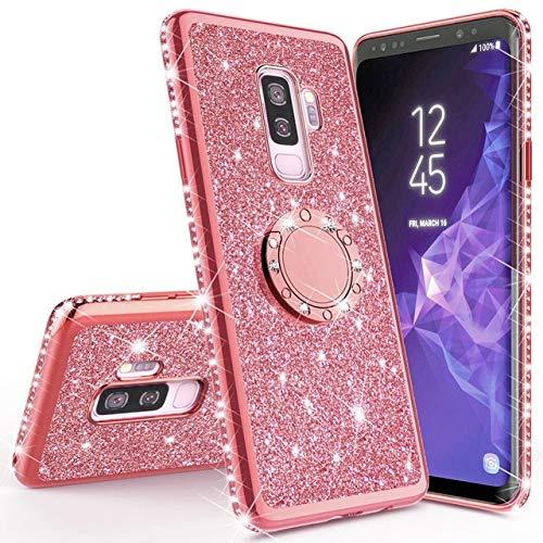 XMCJ Carcasa magnética brillante para Samsung Galaxy S10, S10e, S8, S9 Plus, A5, A7, 2018, A6, A8, Note 8, 9, 360 (color: oro rosa, material: para Galaxy S7 Edge)