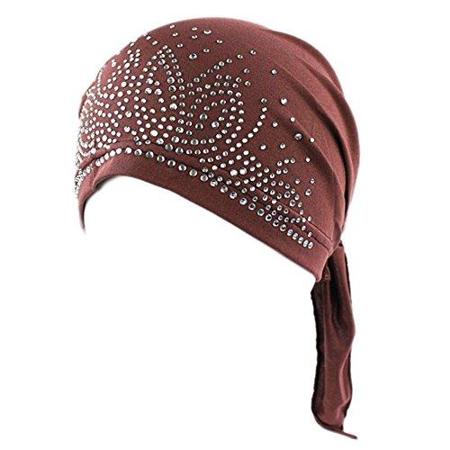 Bluelans® Women's Schal Pre Tied Chemo Hut Mütze Turban Kopftuch für Haarverlust, Krebs, Chemotherapie (Dunklkaffee)