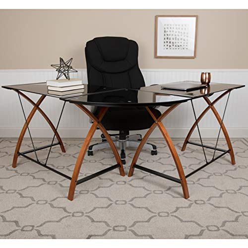 Flash Furniture Black Glass L-Shape Corner Computer Desk with Pull-Out Keyboard Tray, 83.25'W x...