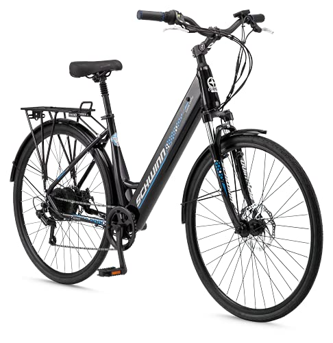 Schwinn Kettle Valley Adult Electric Bike, 18.5-Inch Aluminum Frame, 7 Speed, 700c Wheels, 375Wh Battery, Gloss Black -  Pacfic Cycle, Inc, S7519