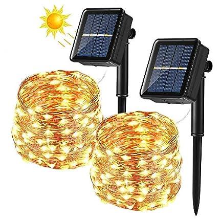 BrizLabs Cadena Luces Solares 2 Paquete 14m 120 LED Guirnalda Luces Solares Exterior Impermeable Iluminación Alambre de Cobre para DIY Navidad Jardín Ventana Valla Boda Decoración, Blanco Cálido