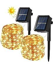 BrizLabs Lichtsnoer op zonne-energie, 24 m, 240 leds, waterdicht, koperdraad, 8 modi, decoratie voor Kerstmis, tuin, balkon, terras, bomen, bruiloft, party, warm wit