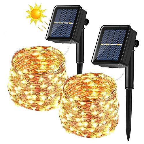 [2 Stück] Solar Lichterkette Aussen, BrizLabs 14M 120 LED Außen Lichterkette Kupferdraht Solarlichterkette Warmweiß Wasserdicht 8 Modi für Weihnachten, Garten, Balkon, Hochzeit, Terrasse, Party Deko