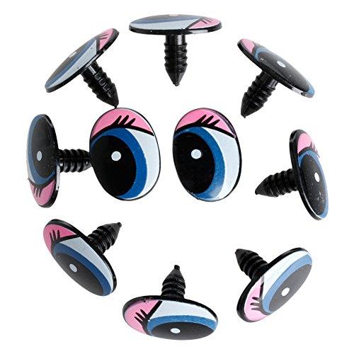 Brucelin 10 Stück Puppenaugen Sicherheitsaugen, Ovale Blaue Sicherheits-Kunststoffaugen, Spielzeugpuppen Puppenaugen DIY, 24mm X 18mm
