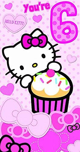Gifts 4 All Occasions Limited SHATCHI-938 Hello Kitty Geburtstagskarte zum 6. Geburtstag, gestanzt, mehrfarbig