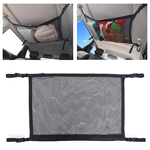 Gepäcknetz für Autodecke, doppellagiges Netzgewebe, Aufbewahrung, Organizer, Autoinnenraum, Dach, Kleinteile, Tasche mit Reißverschluss, verstellbarer Riemen, passend