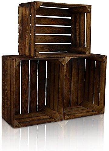 CHICCIE 3 Set Vintage Holzkiste - Gebrannt - alte Obstkiste - Weinkiste - Natur Used Look (Gebrannt)