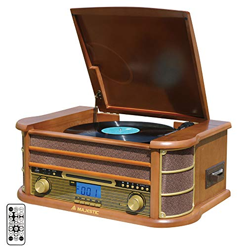 Majestic TT 34R BT CD TP USB platenspeler (33/45/78 omwentingen, Bluetooth, CD-/MP3-speler, USB-ingang, cassette, platenopname in MP3, afstandsbediening) bruin
