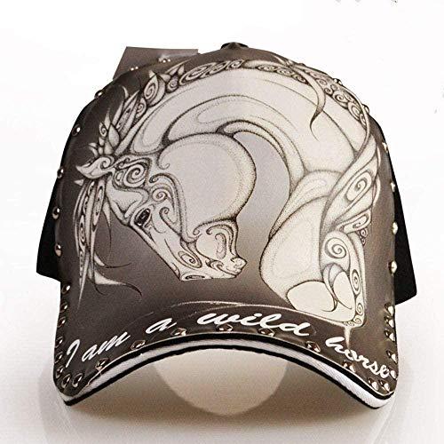 HANJINYU Baseballkappe,Einzigartige Männer S Frauen S Mustang Muster Niet Baseball Cap Mode Persönlichkeit Druck Hip Hop Tide Kreative Sonnenhut