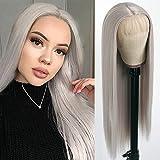 QD-Tizer Pelucas delanteras de encaje gris Pelucas de pelo largo recto color ceniza platino resistente al calor Fibra pelo Glueless sintético Encaje frente Pelucas para mujeres de moda