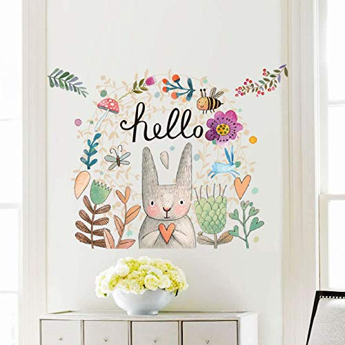 Cartoon Bunny Bee and Butterfly Wall Sticker Hello Animals Wallpaper Kindergarten Home Decor Kids Room Wall Mural