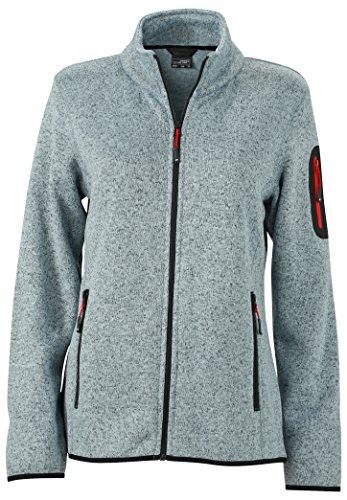James & Nicholson Damen Jacke Jacke Knitted Fleece Jacket grau (Light-Grey-Melange/Red) Large