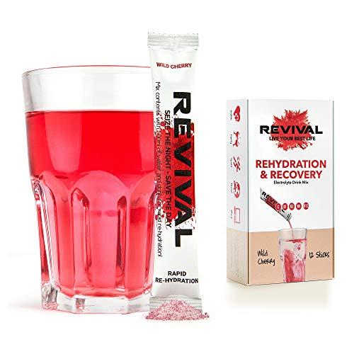 Revival, Rapid Rehydration: Elektrolyt-Pulver - Vitamin-C-Ergänzung, hochwirksame Vitamin-C-Ergänzung, Rehydrierungsbeutel-Drink, Brauselektrolyt-Hydratisierungstabletten – Kirsche 12 Sticks