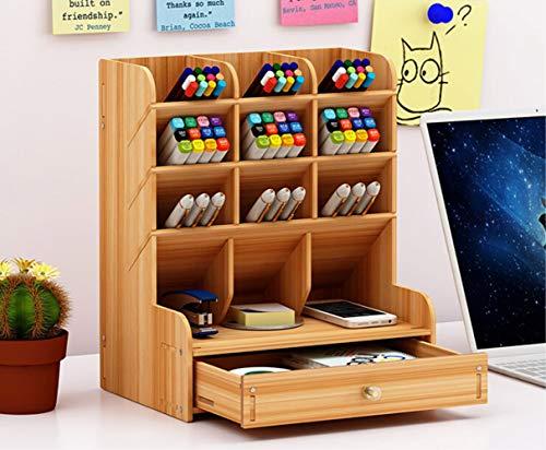 Briefablage mit Schubladen Stifte Dokumentenablage Schreibtischregalkombination Buche Holz Schreibtischregal Bambus Briefkorb Zeitschriftensammler Ablagekorb Schreibtisch Organizer Schwarz