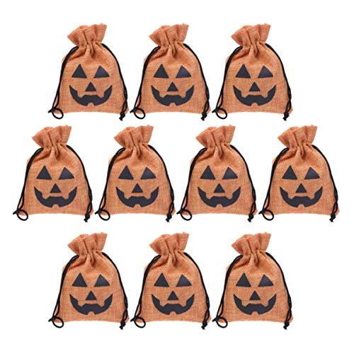 Amosfun Halloween Pumpkin Burlap Candy Bag Pumpkin Gift Drawstring Storage Pouch Halloween Treat Bags for Kid Party Gifts Favors 10PCS