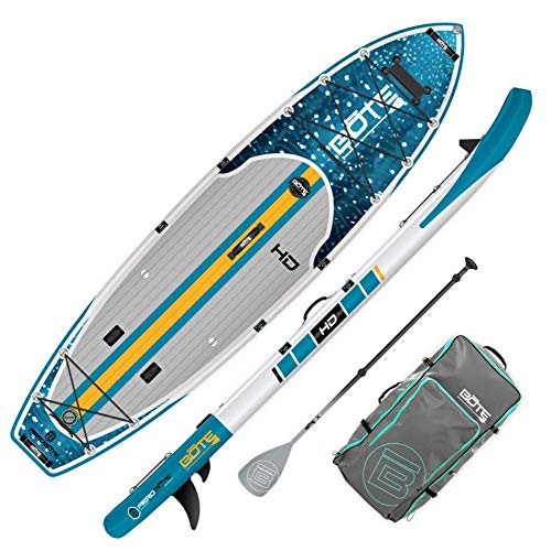 BOTE HD Aero Inflatable Stand Up Paddle Board, SUP with Accessories | Pump, Paddle, Fin & Travel Bag (Native Whale Shark…)