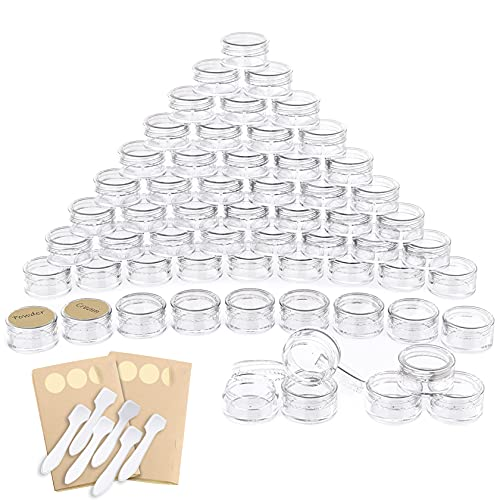 PAMIYO 60 Pièces Contenant Cosmétique Vide Plastique Transparente Petite Pots avec Couvercle avec Mini Spatule Autocollants pour Crème/Poudre/Lotion/Mini Bougies,cosmétiques(5g / 5ml Noir) (Blanc)