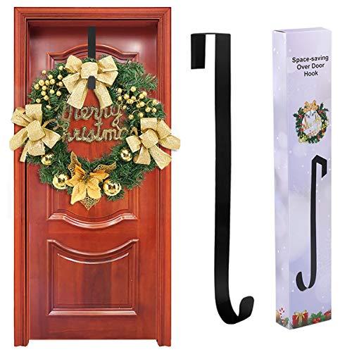 Yuccer Türhaken für Weihnachtskränze, Metall Türhänger Huthaken Wandhaken Mantelhaken Handtuchhalter Bad ohne Bohren Weihnachtsdekoration 15 Zoll (1 Packung)