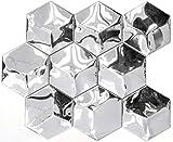 Mosaico de acero inoxidable plata hexágono Baño de pared cocina