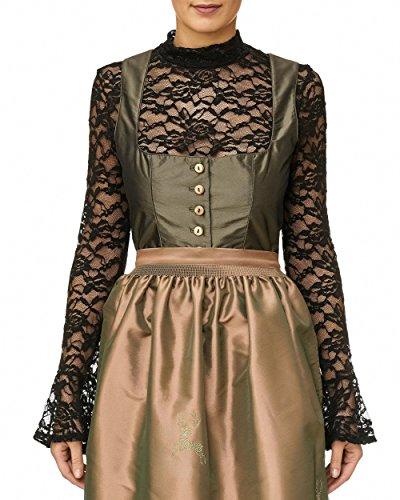Lalia Body/Bluse, Spitzenbody Dirndlbluse, Dirndlbody, Kann auch ohne Dirndl getragen werden, schwarz, Spitze, Gr.36/38/40, lange Ärmel, super moderne Bluse, extravagant, Tracht, Trachtenbluse